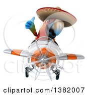 Clipart Of A 3d Mexican Scarlet Macaw Parrot Flying A Plane On A White Background Royalty Free Illustration
