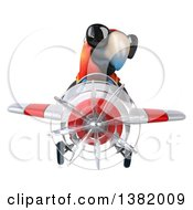 Clipart Of A 3d Scarlet Macaw Parrot Flying A Plane On A White Background Royalty Free Illustration