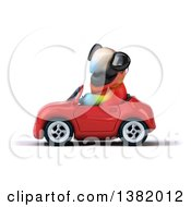 Clipart Of A 3d Scarlet Macaw Parrot Driving A Convertible Car On A White Background Royalty Free Illustration