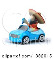 Clipart Of A 3d Mexican Scarlet Macaw Parrot Driving A Convertible Car On A White Background Royalty Free Illustration