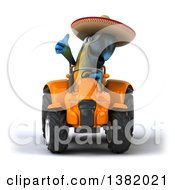 Poster, Art Print Of 3d Mexican Blue And Yellow Macaw Parrot Operating A Tractor On A White Background