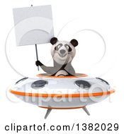 Clipart Of A 3d Panda Flying A Ufo On A White Background Royalty Free Illustration