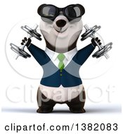 Clipart Of A 3d Business Panda Working Out With Dumbbells On A White Background Royalty Free Illustration
