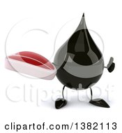 3d Oil Drop Character On A White Background