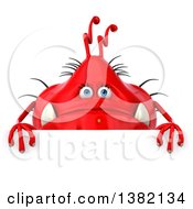 Clipart Of A 3d Red Virus Monster On A White Background Royalty Free Illustration