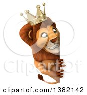 Clipart Of A 3d Lion King On A White Background Royalty Free Illustration
