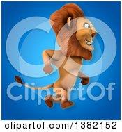 3d Male Lion Over Blue