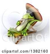 Clipart Of A 3d Gecko Lizard Wearing Sunglasses And A Sombrero And Licking A Waffle Ice Cream Cone On A Chaise Lounge On A White Background Royalty Free Illustration