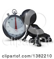 Clipart Of A 3d Black Man Runner On Starting Blocks By A Giant Stop Watch On A White Background Royalty Free Illustration by KJ Pargeter