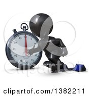 Clipart Of A 3d Black Man Runner Taking Off On Starting Blocks By A Giant Stop Watch On A White Background Royalty Free Illustration by KJ Pargeter