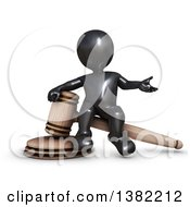 Clipart Of A 3d Black Man Auctioneer Or Judge Sitting On A Giant Gavel On A White Background Royalty Free Illustration by KJ Pargeter
