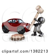 Clipart Of A 3d Black Man Auctioneer Banging A Gavel By A Car On A White Background Royalty Free Illustration by KJ Pargeter