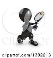 Clipart Of A 3d Black Man Playing Tennis On A White Background Royalty Free Illustration by KJ Pargeter