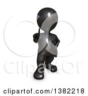 Clipart Of A 3d Black Man Holding Up A Finger On A White Background Royalty Free Illustration by KJ Pargeter