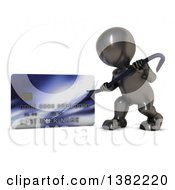 Clipart Of A 3d Black Man Using A Pry Bar To Hack Into A Credit Card Account On A White Background Royalty Free Illustration by KJ Pargeter