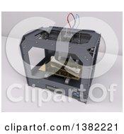 3d Printer Creating A Bone On A White Background