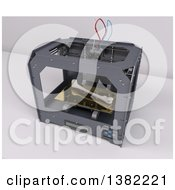 Clipart Of A 3d Printer Creating A Bone On A White Background Royalty Free Illustration