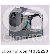 Clipart Of A 3d Printer Creating Earth On A White Background Royalty Free Illustration by KJ Pargeter