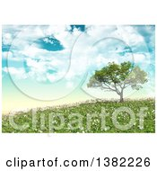 3d Tree On A Hill With Grass And Daisies