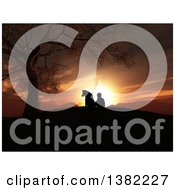 Clipart Of A 3d Silhouetted Boy And His Dog Sitting By A Tree On A Hill And Watching A Sunset Royalty Free Illustration
