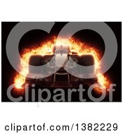Clipart Of A 3d Race Car With A Fiery Effect On Black Royalty Free Illustration