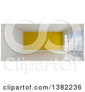 Clipart Of A 3d Empty Room Interior With Floor To Ceiling Windows White Flooring And A Yellow Feature Wall Royalty Free Illustration by KJ Pargeter