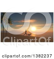 Clipart Of A 3d Silhouetted Fit Woman Jogging With Her Dog At Sunset Or Sunrise On A Beach Royalty Free Illustration