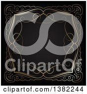 Clipart Of A Vintage Ornate Gold Swirl Frame On Black Royalty Free Vector Illustration by KJ Pargeter