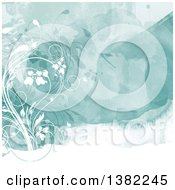 Clipart Of A Watercolor Background With Floral Vines Royalty Free Vector Illustration by KJ Pargeter