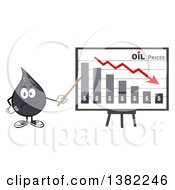 Clipart Of A Cartoon Oil Drop Mascot Holding A Pointer Stick To A Presentation Board With A Declining Chart Royalty Free Vector Illustration