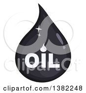 Clipart Of A Cartoon Shiny Oil Drop With Text Royalty Free Vector Illustration