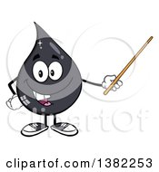 Clipart Of A Cartoon Oil Drop Mascot Holding A Pointer Stick Royalty Free Vector Illustration