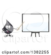 Clipart Of A Cartoon Oil Drop Mascot Holding A Pointer Stick To A Presentation Board Royalty Free Vector Illustration
