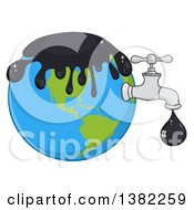 Clipart Of A Cartoon Oil Drop Leaking From A Faucet From Planet Earth Royalty Free Vector Illustration