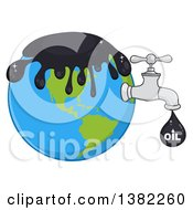 Clipart Of A Cartoon Oil Drop With Text Leaking From A Faucet From Planet Earth Royalty Free Vector Illustration
