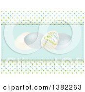 Clipart Of Easter Eggs And Text On A Pastel Blue Panel Over Polka Dots Royalty Free Vector Illustration