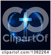 Clipart Of A Glowing Blue Cross In A Circle Over Metallic Honeycomb Texture Royalty Free Vector Illustration
