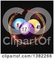 3d Colorful Bingo Or Lottery Balls Over A Metallic Honeycomb Texture With Flares