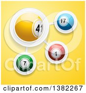 3d Colorful Bingo Or Lottery Balls Connected In A Network Over Yellow