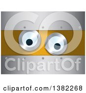 Clipart Of Eyes On An Orange Panel Framed In Brushed Metal Royalty Free Vector Illustration by elaineitalia