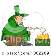 Clipart Of A Chubby St Patricks Day Leprechaun Sitting On A Stump And Roasting A Marshmallow Over A Fire Pit Royalty Free Vector Illustration