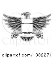Clipart Of A Black And White Engraved Or Woodcut Heraldic Coat Of Arms American Bald Eagle With A Shield And Blank Banner Royalty Free Vector Illustration by AtStockIllustration