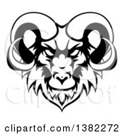 Clipart Of A Black And White Ram Head Mascot Royalty Free Vector Illustration by AtStockIllustration