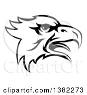Clipart Of A Black And White Screeching Bald Eagle Mascot Head Royalty Free Vector Illustration by AtStockIllustration
