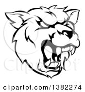 Clipart Of A Black And White Roaring Grizzly Bear Mascot Head Royalty Free Vector Illustration