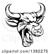 Black And White Roaring Bull Mascot Head With A Nose Ring