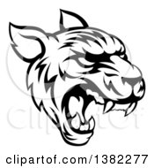 Clipart Of A Black And White Vicious Tiger Mascot Face Roaring Royalty Free Vector Illustration by AtStockIllustration