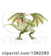 Clipart Of A Fierce Green Dragon With A Horned Nose Royalty Free Vector Illustration