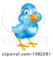 Clipart Of A Happy Blue Bird Royalty Free Vector Illustration by AtStockIllustration