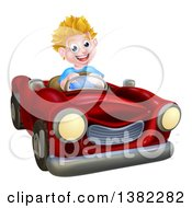 Clipart Of A Happy Blond White Boy Driving A Red Convertible Car Royalty Free Vector Illustration